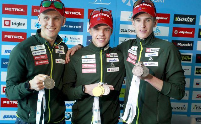 Anton Vidmar, Alex Cisar in Lovro Planko so poskrbeli za izjemno bero slovenske repreznetance na mladinskem SP v biatlonu.<br /> <br /> FOTO Roman Šipić/Delo