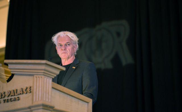 Direktor Psihiatrične klinike Ljubljana na predavanju ob prevzemu nagrade ESQR v Las Vegasu. FOTO: Andrew Parker