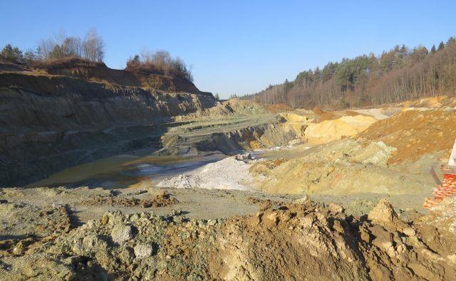 Pogled na kremenčev peskokop podjetja Termit; njegovih predstavnikov ni bilo na soočenje z Moravčani. Foto Bojan Rajšek