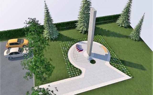 Prikaz ureditve okolice spomenika 64 padlim borcem in žrtvam okupatorjevega nasilja potem, ko ga bodo prestavili na krajevno pokopališče. FOTO: Občina Rečica ob Savinji