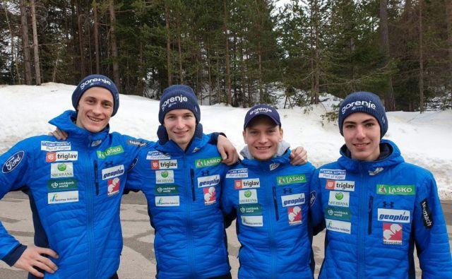 Peter Prevc, Žiga Jelar, Anže Lanišek in Timi Zajc (na fotografiji z leve) bodo šli na veliki skakalnici v Innsbrucku z nasmehom v boj. FOTO: Sloski