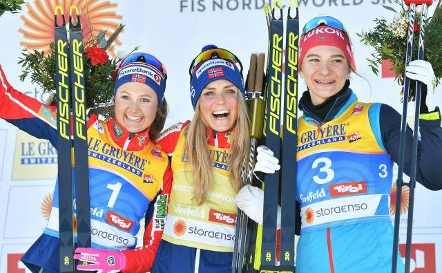 Najboljše tri v skiatlonu na SP v Seefeldu. FOTO: AFP