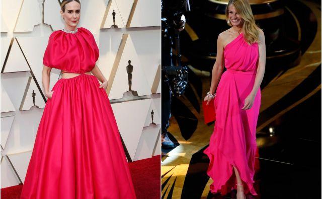 Lepotici v rožnatem sta bili tudi Sarah Paulson in Julia Roberts. Foto Reuters