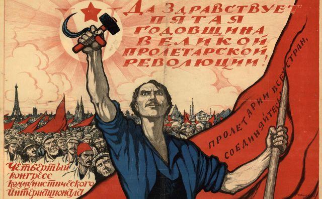 Kominterna in kar ves boljševiški komunizem sta dejansko ostala neposrečen družbeno-politični eksperiment ali, kakor ju je imenoval veliki francoski zgodovinar François Furet, »velika iluzija«. FOTO: plakat Ivana Vasiljeviča Simakova