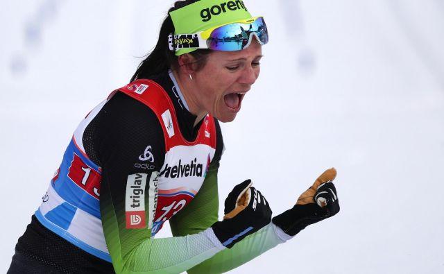 Katja Višnar si je skupaj z Anamarijo Lampič v Seefeldu pritekla srebrno »snežinko« v ekipnem šprintu. FOTO: Reuters
