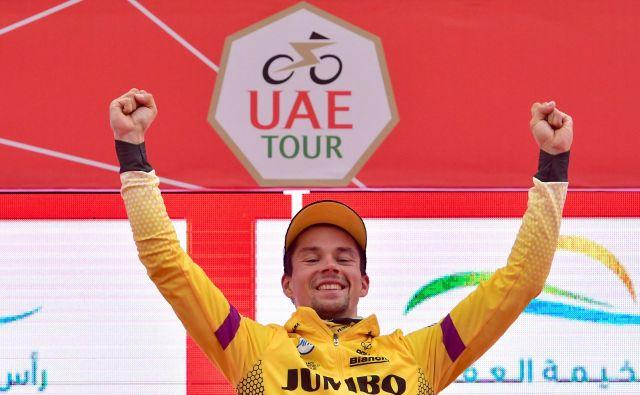 Primož Roglič je slavil skupno zmago na UAE Touru. FOTO: AFP