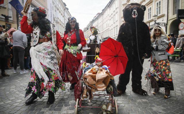 Zmajev pustni karneval v Ljubljani. FOTO: Uroš Hočevar/Delo