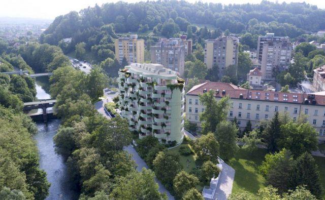 Elipsasti stanovanjski blok bo umeščen na območje v neposredni bližini Grubarjevega kanala s pogledom na Golovec. FOTO: Arhitekturni biro Sadar+ Vuga