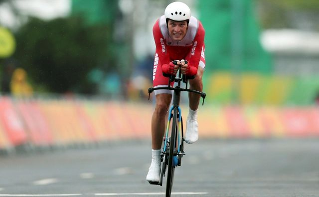 Eden od dvojice suspendiranih avstrijskih kolesarjev Georg Preidler je na olimpijskih igrah v Rio de Janeiru tekmoval v vožnji na čas. FOTO: Reuters