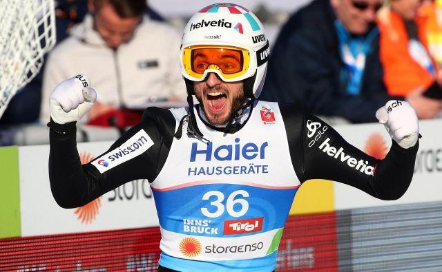 Po tretjem mestu na Bergislu je švicarski as Killian Peier kar vriskal od navdušenja. FOTO: Reuters