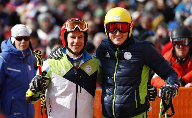 Žan Kranjec in Štefan Hadalin sta v tej sezoni zelo razpoložena. FOTO: Matej Družnik/Delo