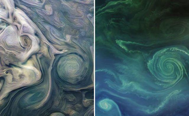 Jupiter (levo) in Zemlja (desno) FOTO: Earth Observatory