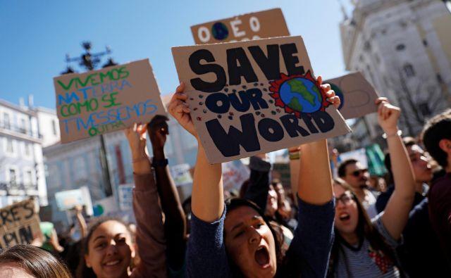 Podnebni štrajk po svetu. FOTO: Rafael Marchante/Reuters