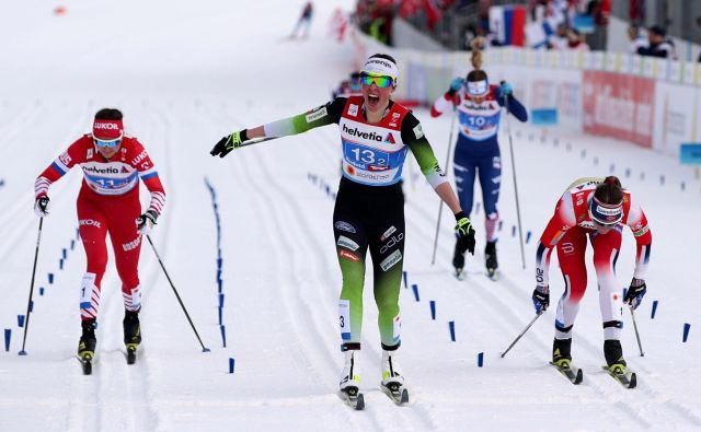 Anamarija Lampič tako visoko v tej sezoni svetovnega pokala še ni bila. FOTO: Lisi Niesner/Reuters