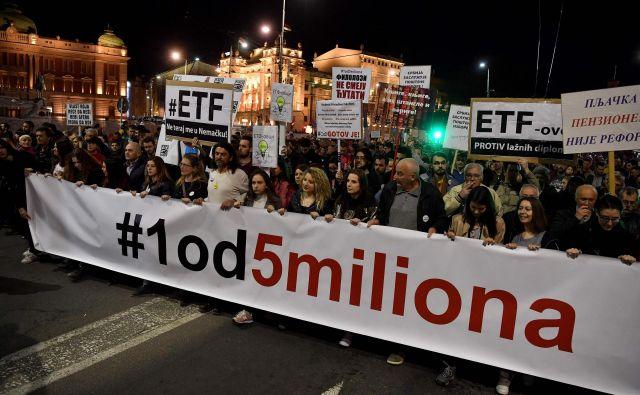 V Beogradu protestirajo že 15. teden zapored. Foto Andrej Isaković/AFP