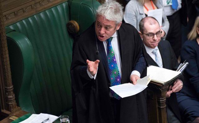 Predsednik spodnjega doma britanskega parlamenta John Bercow je presodil, da poslanci ne morejo še v tretje glasovati o ločitvenem sporazum z EU, brez da se vsebina tega ne spremeni. FOTO: Jessica Taylor/Afp