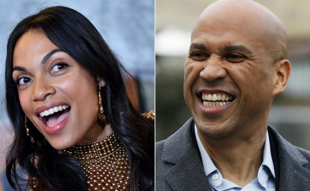 Za sedaj je prekrasno, je o zvezi s senatorjem Bookerjem povedala igralka Rosario Dawson. FOTO: AFP