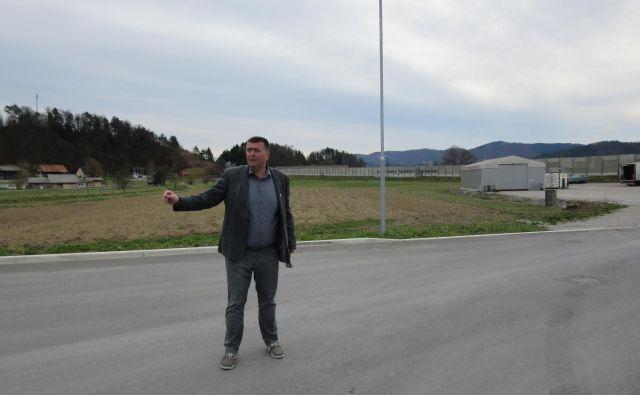 Na tem širšem območju si Peter Pišek želi postavili mali logistični center. Z ministrstva odgovarjajo, da če okoljsko postavitev ne bo sprejemljiva, tu ostaja travnik. FOTO: Špela Kuralt/Delo