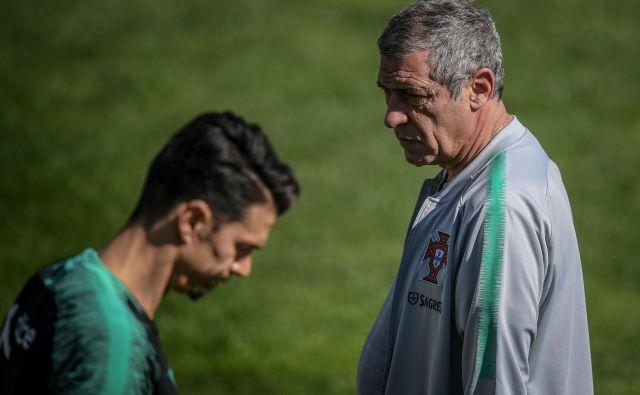 Portugalski selektor Fernando Santos in Cristiano Ronaldo sta po SP v Rusiji znova združila moči. FOTO: AFP