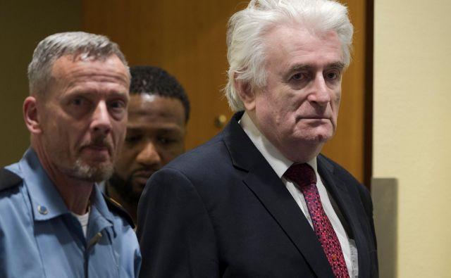 Karadžiću so v prizivnem postopku povišali kazen za genocid in druge zločine med vojno v BiH na dosmrtni zapor. FOTO: Peter Dejong/Reuters