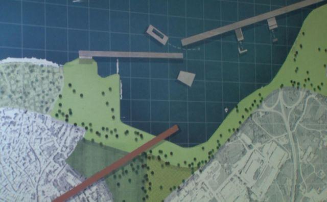 Otok predstavlja plavajoča struktura, ki bi zaprla izolski zaliv. Rdeča črta na kopnem pa označuje povezavo s starim mestnim jedrom, ki bi bila na novo ovrednotena. FOTO: Fakulteta za arhitekturo