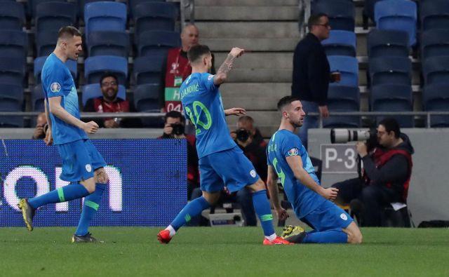 Andraž Šporar se je takole veselil gola v Haifi. FOTO: Reuters