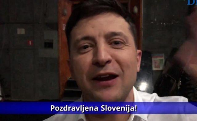 Volodimir Zelenski je med pogovorom z našim novinarjem tudi pozdravil Slovenijo. FOTO: Delo