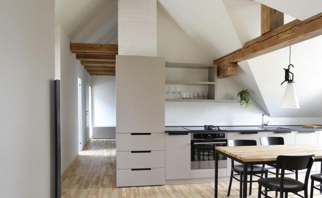 Zaradi nizkega stropa je bila za izvedbo najzahtevnejša kuhinja. Napo so skrili v kuhinjski pult, ki je nekoliko globlji – 80 cm –, s čimer so pridobili dodatnih 20 cm delovne površine, ki je uporabna za odlaganje pripomočkov, umestitev polic. Foto: arhiv arhitektov