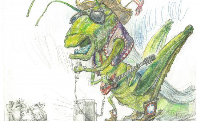 Ilustracija Milana Eriča iz knjige ugank <em>Kaj je zeleno in leti po zraku?</em>