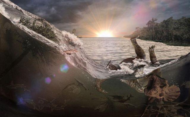 Ilustracija vala, po katerem se je ustvarila nenavadna plast fosilov. FOTO: Robert DePalma