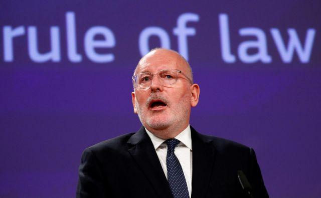 Prvi podpredsednik komisije Frans Timmermans je prepričan, da je delovanje EU kot celote odvisno od vladavine prava v državah članicah. Foto: Reuters