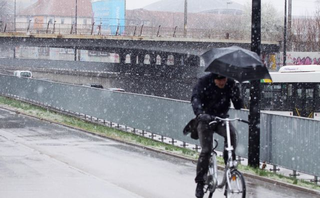 V Ljubljani je letos nazadnje snežilo sredi marca. Tokrat naj v Ljubljani ne bi padal sneg, bo pa v krajih do 800 metrov nadmorske višine,v južni Sloveniji pa lahko sneg pada tudi nižje.FOTO: Ema Nemanič/Delo