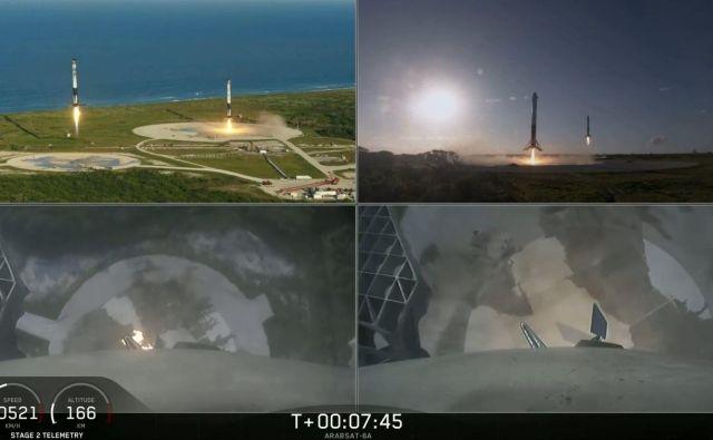 Pristanek stranskih nosilnih raket. FOTO: Spacex