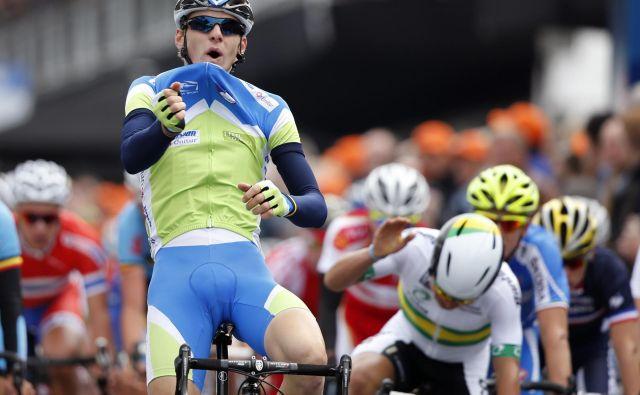 Matej Mohorič je na cestah dirke Amstel Gold postal mladinski svetovni prvak. FOTO: Reuters