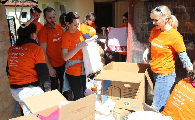 Lekovi prostovoljci so tokrat pomagali v zavetišču za živali Horjul, nekateri že več let zapored. Foto Tomi Lombar