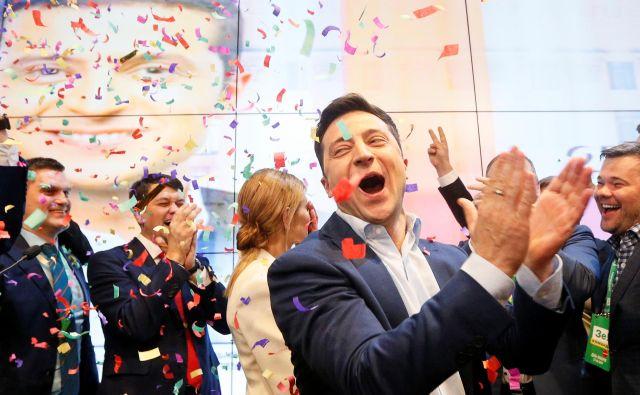 Veselje novega predsednika Ukrajine. FOTO: Valentyn Ogirenko/Reuters