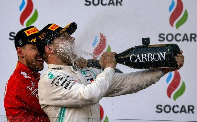 Valtteri Bottas si je dal duška po peti zmagi v karieri. FOTO: AFP