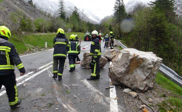 Podor na cesti Tržič-Ljubelj. FOTO: Tržič TV