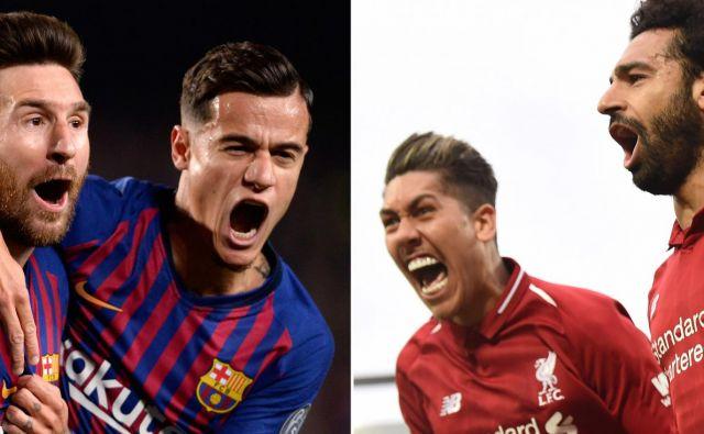 Kdo bo uspešnejši: Lionel Messi in Philippe Coutinho (levo) ali Roberto Firmino in Mohamed Salah (desno)? FOTO: AFP