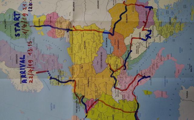 Zemljevid avtoštoparske odisejade. Foto Miran Ipavec