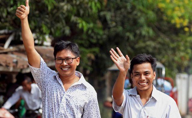 V zaporu sta novinarja Va Loun in Čo So U preživela več kot 500 dni. FOTO: Reuters