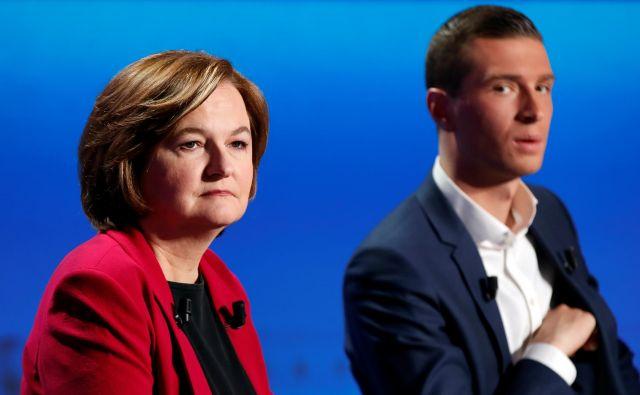 Nosilca list Republike, naprej! in Nacionalnega zbora sta Nathalie Loiseau in Jordan Bardella.<br /> FOTO: Reuters