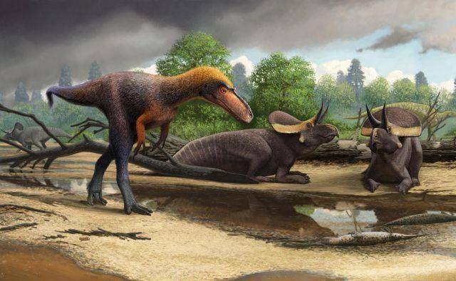 Umetniška upodobitev dinozavra <em>Suskityrannus hazelae</em>. FOTO: Andrey Atuchin/Virginia Tech