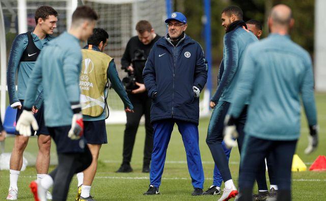 Maurizio Sarri moštvo pripravlja na povratno tekmo polfinala evropske lige z Eintrachtom. Po prvi tekmi je izid 1:1. FOTO: Reuters