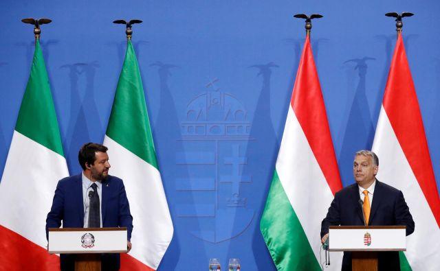 Matteo Salvini in Viktor Orbán FOTO Reuters