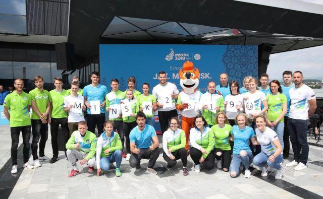 Nekaj članov slovenske odprave za Minsk. FOTO: OKS
