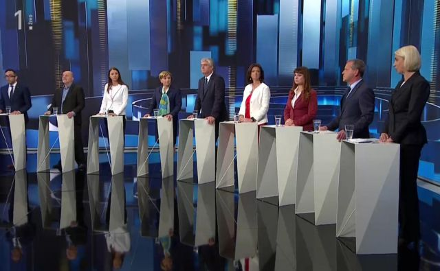 V studio TV Slovenija mnenja soočajo nosilci parlamentarnih strank. FOTO: TV Slovenija