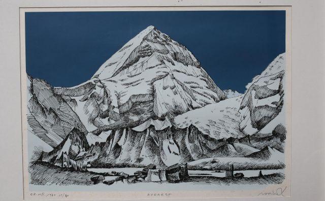 """Na odpravi je bil tudi slikar Franc Novinc. Umetnina <em>Everest </em>je ena od treh, ki jih je muzeju posodil novinar <a href=""""https://www.delo.si/novice/slovenija/novinar-dela-v-baznem-taboru-179443.html"""" target=""""_blank"""">Marjan Raztresen</a>. FOTO: Tomi Lombar"""