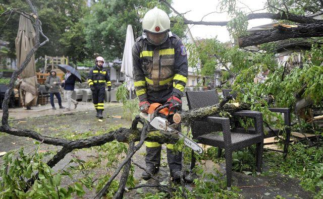 Neurje je zrušilo drevo na teraso lokala sredi hrvaške prestolnice. FOTO: Damir Krajac/CROPIX