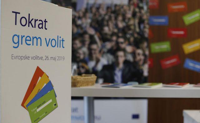 »Državljanke in državljani, udeležite se volitev poslancev v EU-parlament.« Foto Leon Vidic